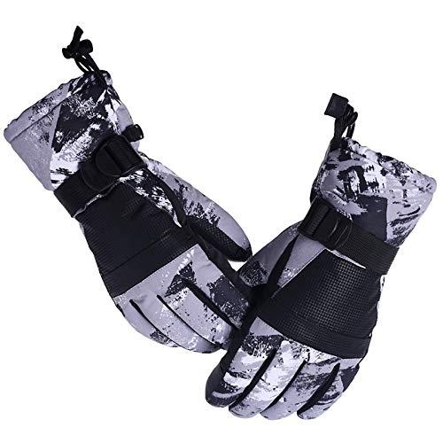 Guantes de Invierno Termicos Esquí Impermeable Antideslizante a Pantalla Táctil Cálido Guantes Bicicleta Correr Moto Ciclismo Deporte Escalada Conducir al Aire Libre para Hombre Mujer,ST003-Grey-M