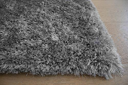 LA Epic Thick Thin Pile Soft Fluffy Furry Hairy Large Plush Contemporary Braided Shag Shaggy 5-Feet-by-7-Feet Polyester Made Area Rug Carpet Rug Silver Color
