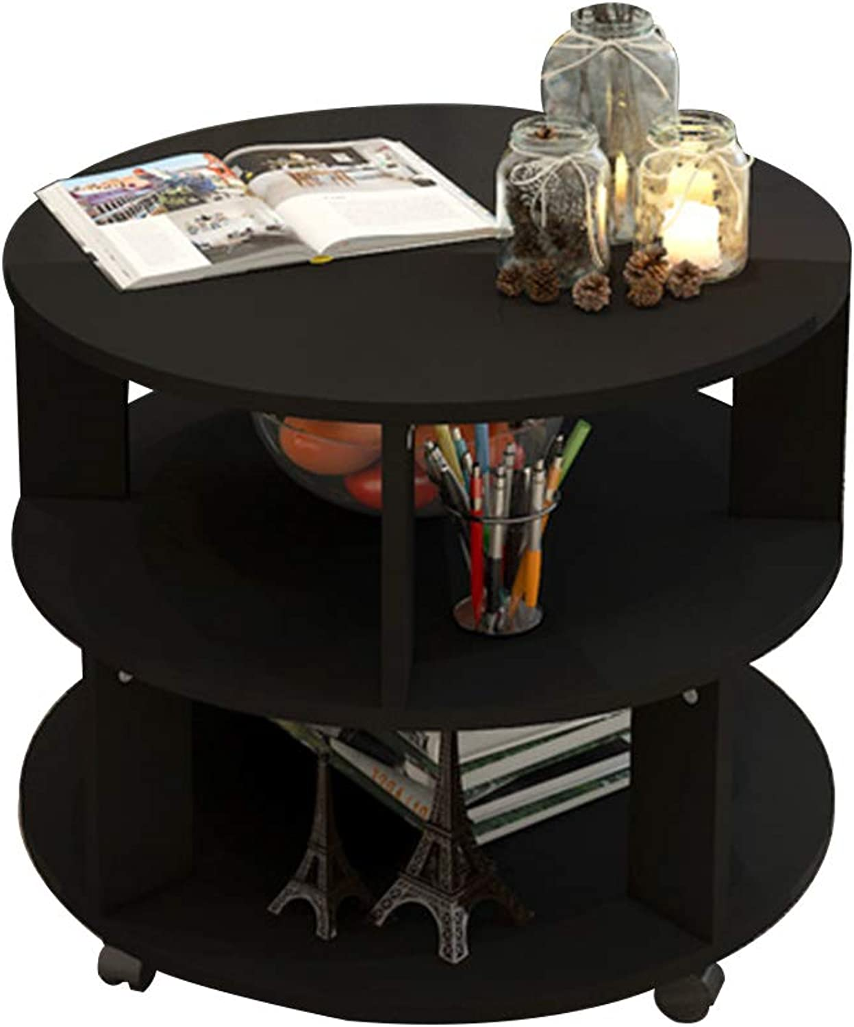Coffee Table Mobile Corner Table, Simple Multi-Functional Storage Small Round Table, Suitable for Sofa Side Bedside (Size   48  48  48cm)