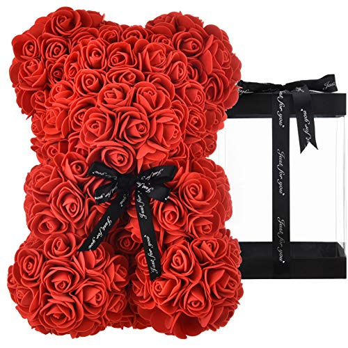 Rosen Teddybär, Rosenbär, Geschenke für Mütter, Frauen, Teenager, Geschenke, Muttergeschenke, handgefertigter Rosen bär, Teddybär, Rose, Bär, Valentinstag, Geburtstag, Hochzeit, mit Box (rot)