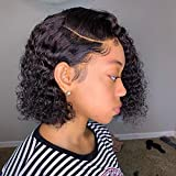 Curly Bob Lace Front Wig Human Hair For Black Women MSGEM Brazilian Virgin Hair Deep Wave 4x4 Lace Closure Human Hair Wigs Pre plucked With Baby Hair Short Curly Side Part Wigs 10 inch 150% Density