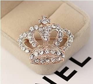 Huyizhi Strass Brosche Pin Zubehör, Crown Form Brosche Tuch Dekoration, für Party Urlaub Hochzeit, Rose Goldren