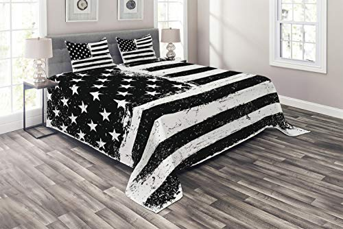Ambesonne United States Coverlet, Grunge Aged Black White American Flag Independence Fourth of July Design, 3 Piece Decorative Quilted Bedspread Set with 2 Pillow Shams, Queen Size, Black and White