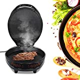 Electric Griddle, 180 Degrees Electric Griddle Skillet Double Baking Pan Non-Stick Pizza Maker Electric Grill Cookware UK Plug