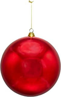 2 Large Shiny Red Christmas Ball Ornaments 12inch Two Oversize Decorative Holiday Ball Ornaments