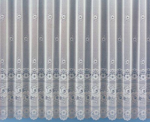 Gardine, Blumenfensterstore mit Sockelabschluß gebogt und Universalschienenband, Größe 140 x 250 cm