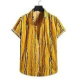 Camisetas Hombre Originales, Camiseta de Manga Corta con Botones Estampados a Rayas de algodón y Lino para Hombre