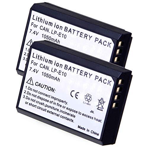 2X LUMOS LP E 10 ersetzt Canon Akku LP-E10   1050mAh mit Infochip   kompatibler Ersatz-Akku für Canon EOS 1100D 1200D 1300D 2000D 4000D DSLR Kamera   2 er Pack
