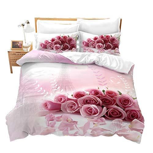 Fansu Bettwäsche Set Mikrofaser Schlafzimmer Bettwäsche-Set, Rose Blumen Drucken 3D Bequemer Kissenbezug Bettbezug mit Reißverschluss Schließung (135x200cm,Rosa Rose)