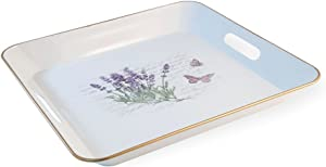 Boston International HCC18327 Square Metal Serving Tray, Lavender Butterfly
