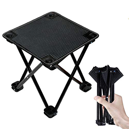 Folding Portable Camping Stool Mini Lightweight Sturdy Collapsible Chair for Camping, Fishing, Hiking, Fishing, Travel, Beach, Picnic with Portable Bag, Black (Black-Medium)