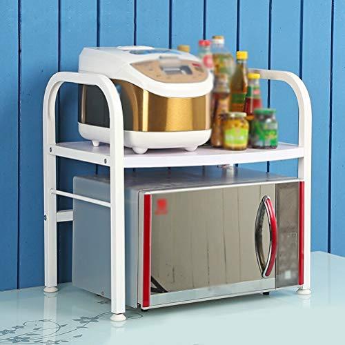 Kitchen furniture - Support de rangement de cuisine de support de four à micro-ondes à la maison étagère en bois en métal de double couche WXP (Couleur : Blanc, taille : E)