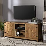 Walker Edison Georgetown Modern Farmhouse Double Barn Door TV Stand for TVs up to 65 Inches, 58 Inch, Barnwood Brown