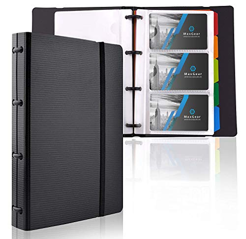 MaxGear Professional Business Card Organizer Business Card Holder Book, Credit Card Business Card Binder Business Card File Name Card Holder for Office & Home, 5 Index Tabs, Capacity: 180 Cards, Black