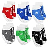 Baby Boy Shoe Socks That Look Like Tennis Shoes – 6 Pairs of Baby Chucks Sneakers Non-Skid Gripper Socks – Fits 0-12 Months