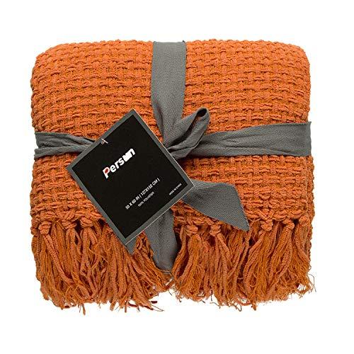 PERSUN ブランケット 毛布 ひざ掛け 大判 フリンジ付き ニット ソファー オフィス 肩掛け デコレーション おしゃれ 暖かい プレゼント127x 152cm オレンジ