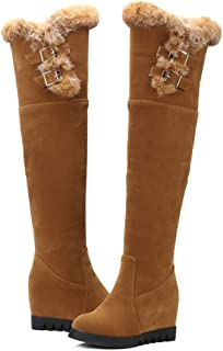 Energyers New Women's Over The Knee Boots Winter High Heels Boots Suede High Boots Wedges Height Increasing Shoes