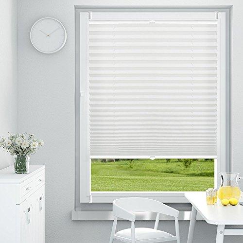 OUBO Plissee Klemmfix 55 x 140 cm (BxH) Weiß, Jalousie ohne Bohren Sich- und Sonnenschutz Faltrollo