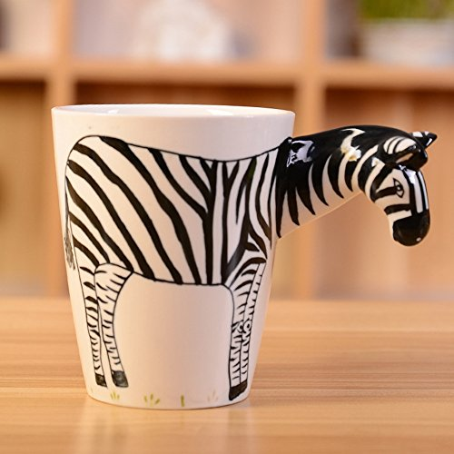 HapiLeap 3D Pure Hand-Painted Cute Animal Ceramic Coffee Mug Coffee Cup (Zebra)