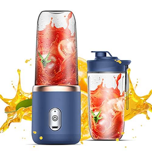 Mini Licuadora Portátil,Mezclador de frutas, USB recargable, 6 cuchillas, taza exprimidora para jugo, batido y batido (azul)