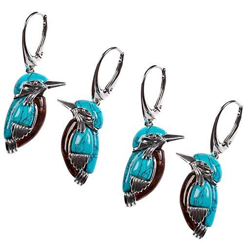 Bluebird Earrings,bluebird Earrings Retro Style Turquoise Earring, Pendant with Large Ring Enamel Decor,enamel Bird Earrings for Women (2PC)