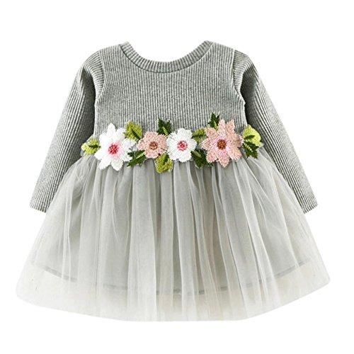 Kobay Kleinkind Baby Kind Mädchen Lange Ärmel gestrickt Bow Newborn Tutu Prinzessin Kleid 0-24M (90/12-18Monat, S-Grau)