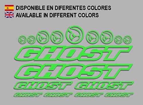 Ecoshirt 0B-E0CY-599T Pegatinas Ghost F188 Vinilo Adesivi Decal Aufkleber Клей MTB Stickers Bike, Verde
