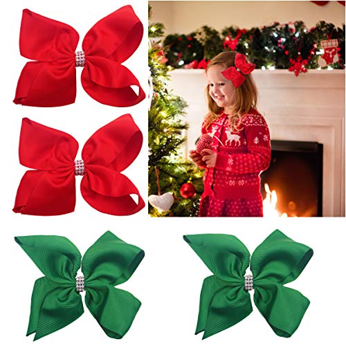 4PCS 6Inch Hair Bows Glitter Sparkly Rhinestones Hair Bows Alligator Hair Clips Red Green Christmas Hair Bows Hair Accessories for Baby Girls Toddlers Kids Children
