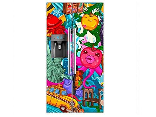 Vinilo Frigorífico Americano Caricatura Nueva York | 91x176cm | Varias Medidas | Pegatinas de Nevera Económicas y Elegantes | Vinilo Nevera