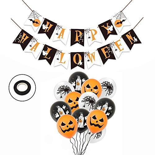 WJUAN Set de Decoración de Fiesta de Halloween, Pancarta de Feliz Halloween y 12 Globos de Látex con Estampado de Fantasma de Araña de Calabaza, para Decoración de Fiesta de Halloween