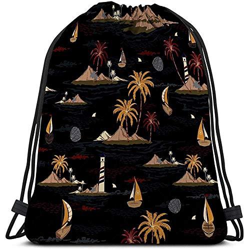 BOUIA Gym Trekkoord Tassen Canvas Tassen Rugzak Sport zomer strand nacht wind surfen botanische kokosnoot palmbomen topische planten Gevarieerd