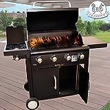 BAKAJI Barbecue Professionale A Gas con Sistema Cottura Pietra Lavica Fornello...