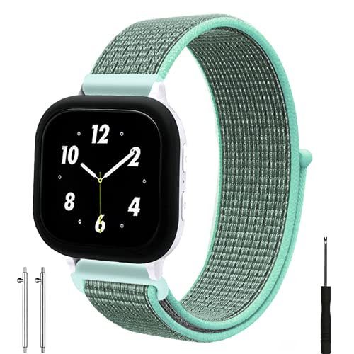 Replacement Kids Band for Gizmo Watch, Breathable Hook Loop Nylon Strap Watch Band with Quick Release Pins Compatible with Verizon Gizmo Watch 2/1 (Green)