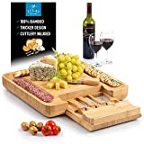 Zulay (Large) Bamboo Cheese Board and Knife Set - Extra Thick Bamboo Cheese Cutting Board with 4 Piece Knife...
