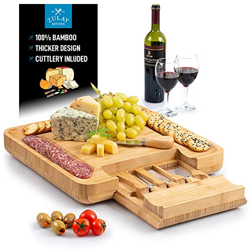 Zulay (Large) Bamboo Cheese Board and Knife Set - Extra Thick Bamboo Cheese Cutting Board with 4 Piece Knife Set - Wooden Cheese Board is Perfect for Charcuterie, Wine and Cheese