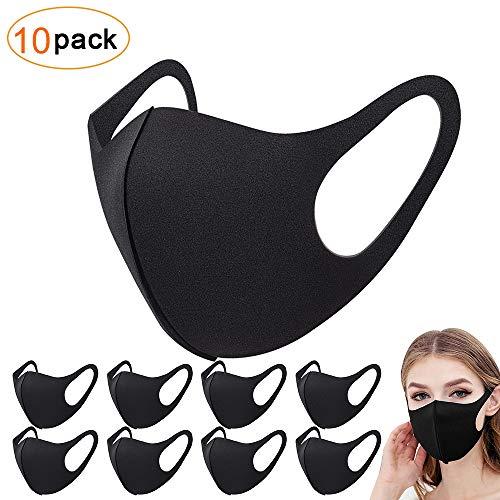 Sporgo 10 Stück Masken, Schwarz Baumwolle Masken Unisex Wiederverwendbar Mundschutz Maske Waschbare Maske Staubschutzmaske
