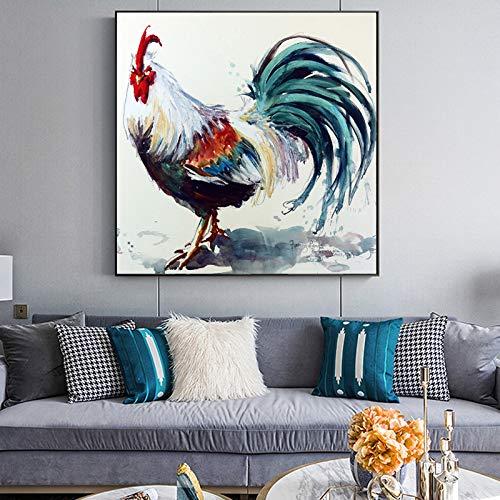 WSWWYLeinwand malerei Tier ölgemälde abstrakte malerei aquarell Hahn wandbilder für Wohnzimmer Dekoration kein Rahmen A 40x40 cm Kein Rahmen