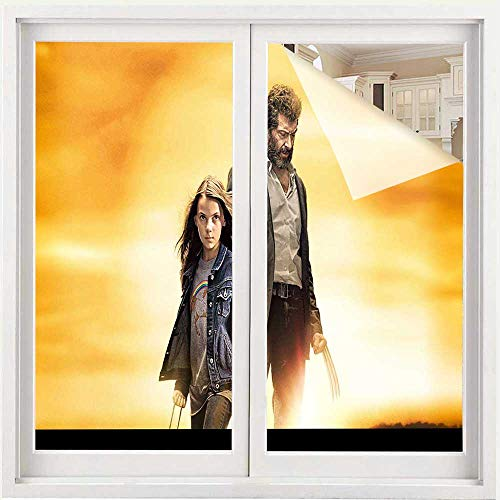 Benmo House Removable Static Window Clings Logan Movie Poster pt Window Film for Home UV Blocking/Privacy 17.5 x 78.7 inch