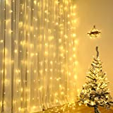 Qedertek Cortina de luces Prolongable, Guirnalda Luces Led Decorativas 3x3m 300 LED, luces de Navidad Blanco Calido, Cortina Luces LED para Decoración Navidad