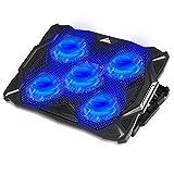 Almohadilla de refrigeración para ordenador portátil con ventilador silencioso para portátil de alta resistencia, soporte de refrigeración de hasta 17,3 pulgadas con 5 ventiladores de potencia (azul)