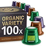 Organic Variety Pack: 100 Nespresso Compatible Pods from Real Coffee. 4 Different Varieties to explore and try out