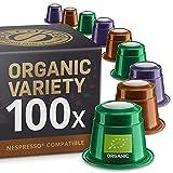 Lot de dégustation de Fairtrade et Bio: 100 capsules de café compatibles avec Nespresso