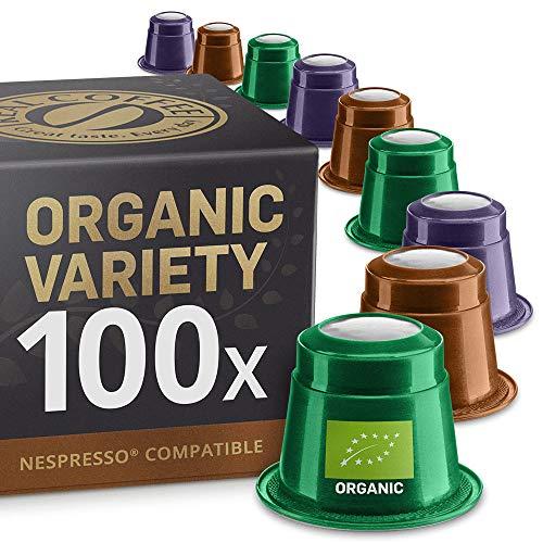 Bio und Fairtrade Testbox: 100 Nespresso kompatible Kapseln. Kaffeekapseln Testsieger. 100% Bio und Fairtrade Kaffeekapseln