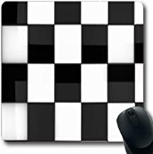 Mousepads Pattern Shiny Chess Detail Abstract Check Board Checkered Black White Victory Oblong Shape 7.9 x 9.5 Inches Oblong Gaming Mouse Pad Non-Slip Mouse Mat