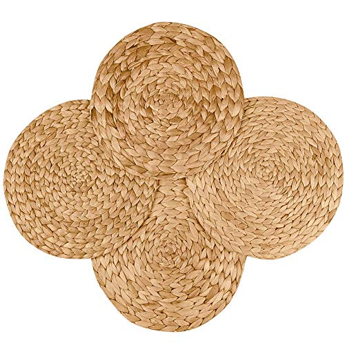 TENQUAN Round Natural Water Hyacinth Weave Handmade Placemat 30CM(11.8In), Grass Mat 4-Pack Handmade Straw Woven Placemat Heat Resistant Hot Insulation Anti-Skidding Pad