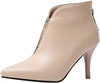 AbbyAnne Women Fashion Pointed Toe Booties Stiletto Heels Zip
