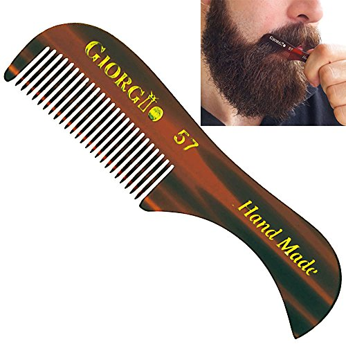 Giorgio G57 2.75' X-Small Men's Fine Toothed Beard and Moustache Combs Pocket Size for Facial Hair Grooming. Hand-Made of Quality Cellulose, Saw-Cut & Hand Polished. (1 Pack, Tortoise)