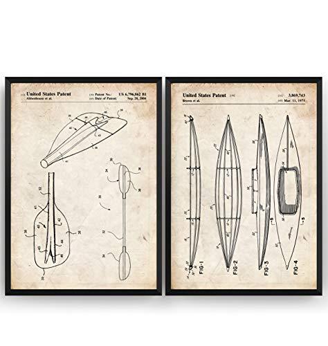Kajak Patent Poster - Set Of 2 - Kayak Kanu Jahrgang Drucke Drucken Bild Kunst Geschenke Zum Männer Frau Entwurf Dekor Vintage Art Decor - Rahmen Nicht Enthalten