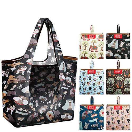 Dog Reusable Grocery Bags Foldable Grocery Totes With Pouch X Large 50 LBS 6 Pack Reusable Shopping Bag Fabric Durable Eco-Friendly Sturdy Gift Bags Machine Washable Shrink Proof