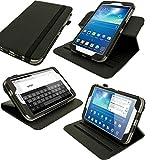 igadgitz U2599 Giratorio PU Funda Case Cover Cuero Compatible con Samsung Galaxy Tab 3 8' SM-T310 con Stand + Protector de Pantalla - Negro